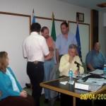 2006-04-29. ASAMBLEA. EL TREBOL. Entrega distintivo. Vismara, Almada, Giovannini, Fontanesi, De Lorenzi y Zaeta.